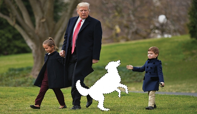 A perfect Trump family tableau — the president with grandchildren Arabella and Joseph Kushner — is missing just one important thing. (Mandel Ngan/AFP/Getty Images; iStock; Washington Post photo illustration)