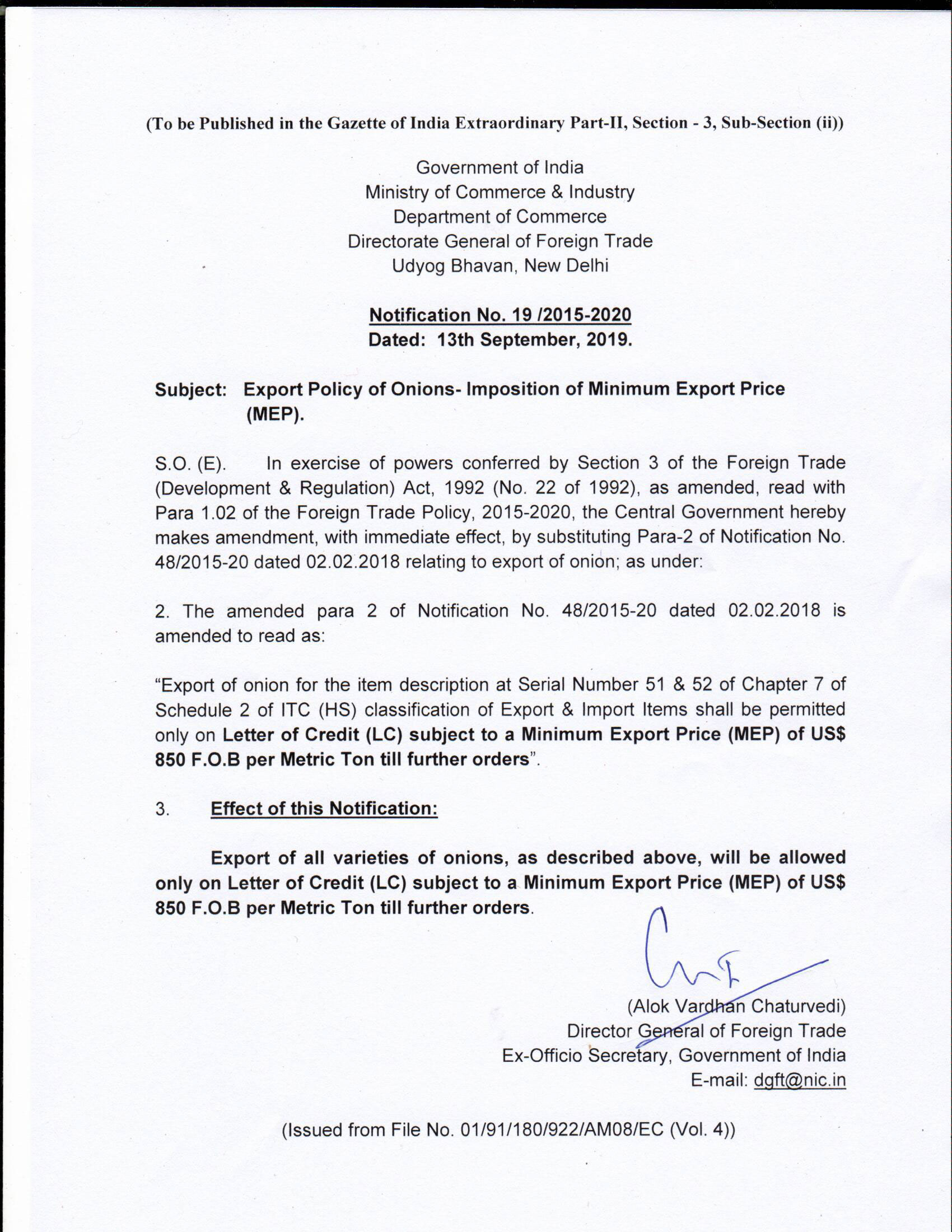 DGFT Notification 19 for MEPLC