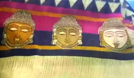 Sarees with Buddha print sold in Pettah