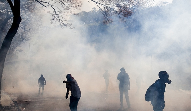 Tear gas & water cannons fired at student protest
