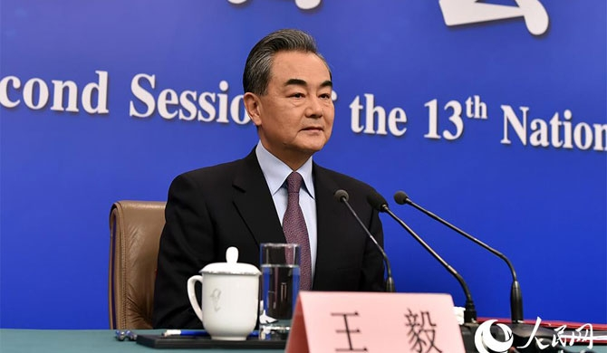Chinese State Councillor and Foreign minister Wang Yi speaking to media on China's foreign policy and relations on March 08, 2019 (Photo courtesy : People's Daily Online)