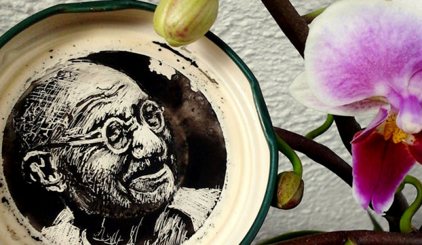 Bottle cap ink portraits