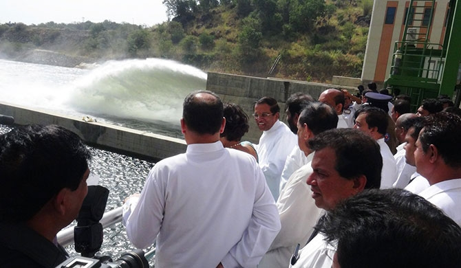 President releases water into Moragahakanda reservoir (Pics /Video)