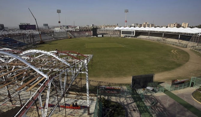 The Gaddafi stadium in Karachi is scheduled to host the first ODI between Pakistan and Sri Lanka later this month. Photograph: Fareed Khan/AP
