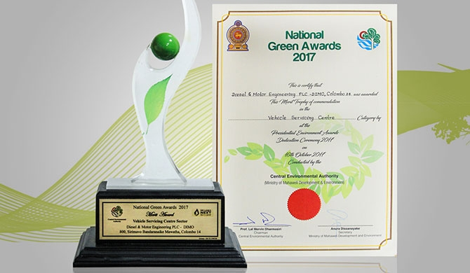 DIMO 800 lauded at National Green Awards 2017
