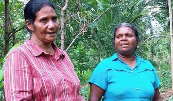 K.P. Somalatha, left, a farmer's organisation leader; and Chandrani Mendis, a farmer, in Monaragala.