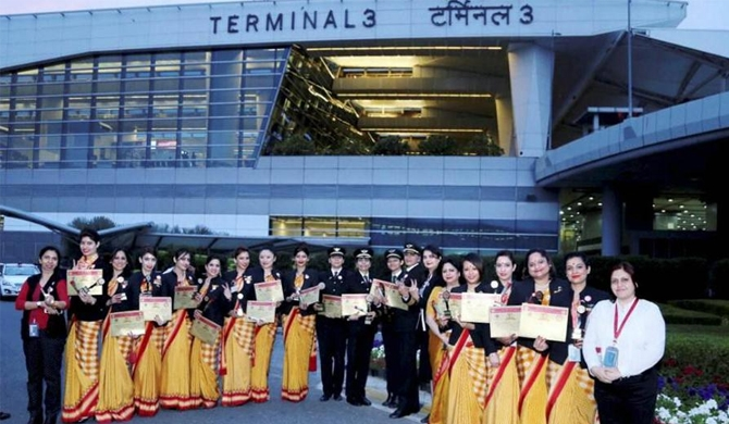 Air India's all women flight flies to record books