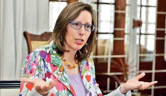 US Ambassador to Sri Lanka and Maldives Ambassador Alaina Teplitz gestures during the interview with Daily FT at her residence Jefferson House
