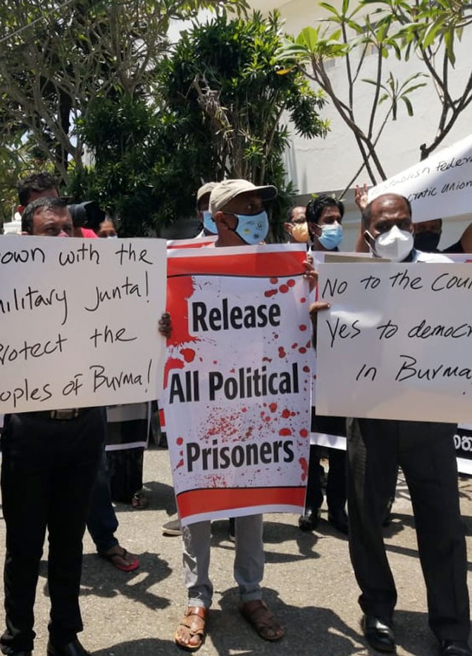 Protest in Colombo against Myanmar military coup (Pics)