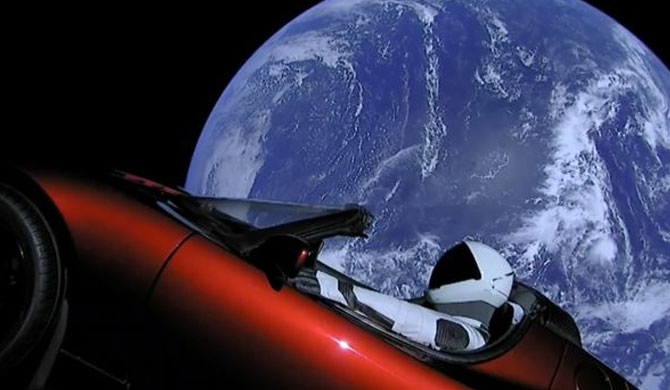 Elon Musk's car goes to space (Video)