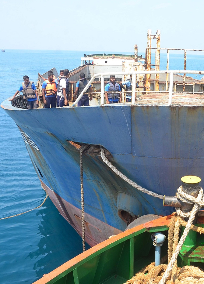 Navy sinks dilapidated LTTE ship