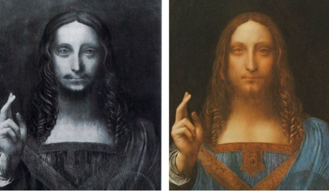 The painting has been cleaned and restored from the image on the left to the one on the right