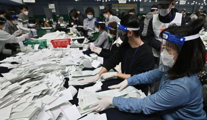 Ruling party wins Korean polls amid Covid-19 outbreak