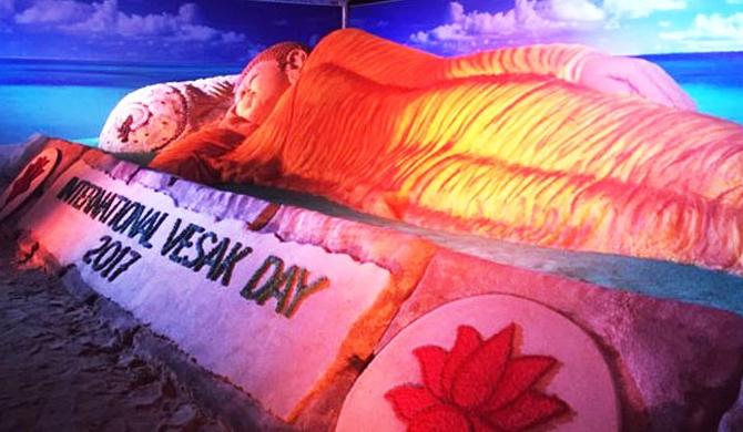 World's longest sand Buddha statue in SL(pics)