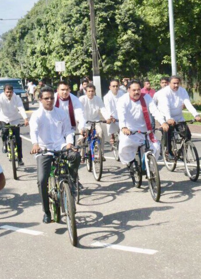 JO cycles to parliament for Mangala's budget speech! (Pics)