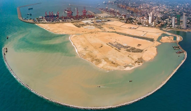 Bird's eye view of the Chinese funded Colombo Port City Photograph: Xinhua/Alamy Live News