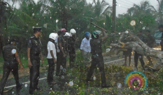 Police service amidst heavy downpour!