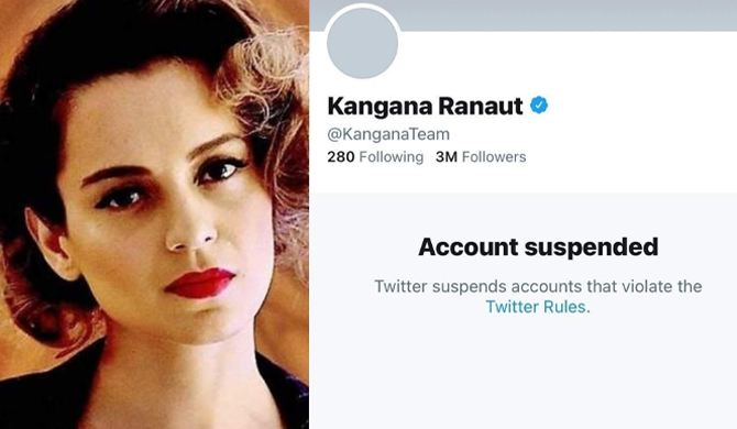 Twitter suspends Kangana's account