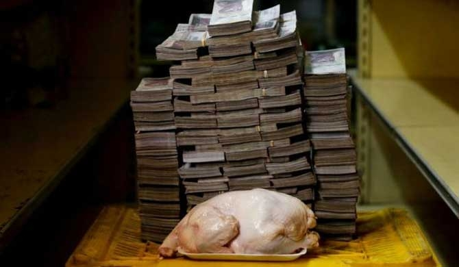 The amount of currency needed to buy a chicken at a market in Caracas last week before the Venezuelan currency was devalued.