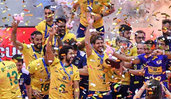 Brazil crowned at FIVB men's World Cup with 11 straight wins
