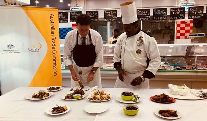 Australian High Commissioner His Excellency Bryce Hutchesson and Chef D.J. Manjula – Executive Sous Chef – Heritance Ahungalla  at the Australia Day Food promotion at premium Cargills Food City outlets in Colombo.